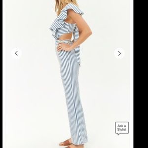 bf3f11b87744 Forever 21 Pants | Textured Striped Cutout Jumpsuit | Poshmark